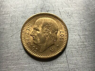 1907 Mexico Gold 10 Pesos (.2411oz) - Average circulated-special price lot 4