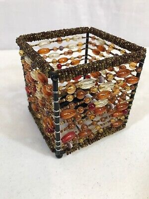 """Beaded Jeweled Wire Basket T Candle Holder 4""""x4""""x4"""""""