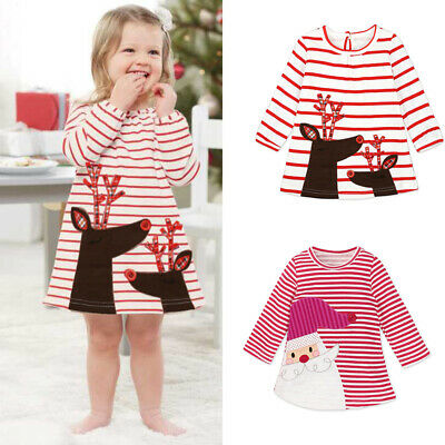 Girls Xmas Party Striped Santa Claus holiday Long Sleeve party Dress Kids Outfit