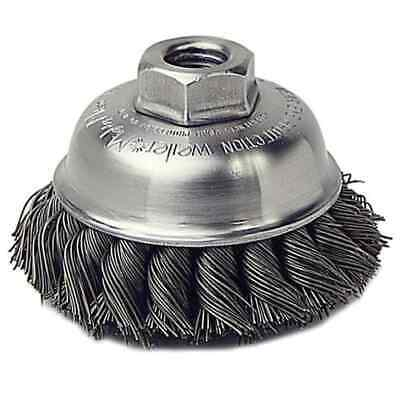 """Weiler Item #13156 3-1/2"""" Single Row Wire Cup Brush, .023, 5/8""""-11 A.H. (SRA-3)"""