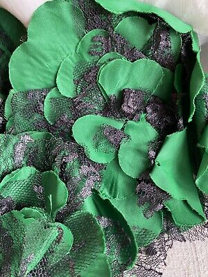 Vintage Millinery Flowers 4pc Green & Black Lace Blossoms /Period Costume & Hats