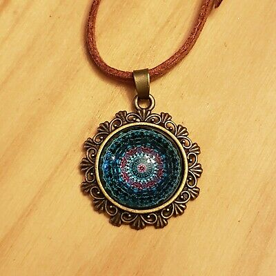 Mandala Glass Tile Necklace Adjustable Length stocking stuffer