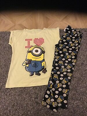 Minion Leggings And Top Age 7-8