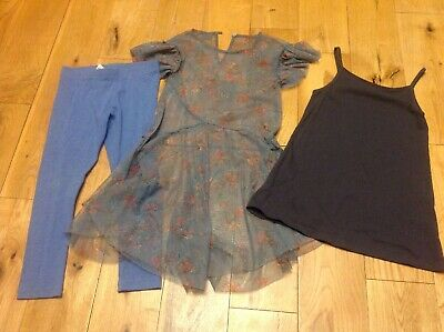 Girls Next 3 Piece Outfit Leggings X2 Tops Aged 5 (aged 4-5) Green Blue Grey