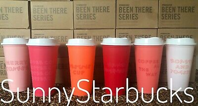 Starbucks Holiday 2019 Reusable Hot Cups-Set of 6 Cups W/ 6 Lids-16 Oz Christmas