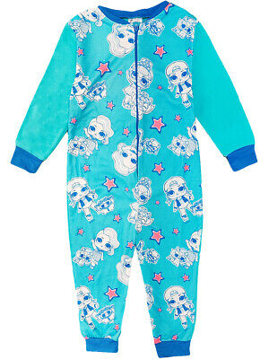 Girls L.O.L Surprise Fleece All In One Sleepsuit Pyjamas Pjs Nightwear Gift