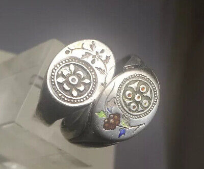 2 Signed Silver  Flowers Design Antique Chinese Rings Size 5 & 7
