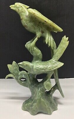 Antique Chinese Green Nephrite Natural Soft Jade Birds Carving Figure