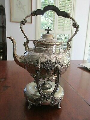 Antique Silver Plate Silverplate Sheffield Spirit Kettle on Stand Impressive