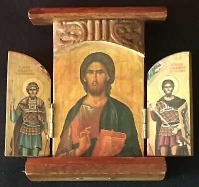 Vintage Mini Hand Carved Wood Russian Religious Holy Icon Holy Triptych