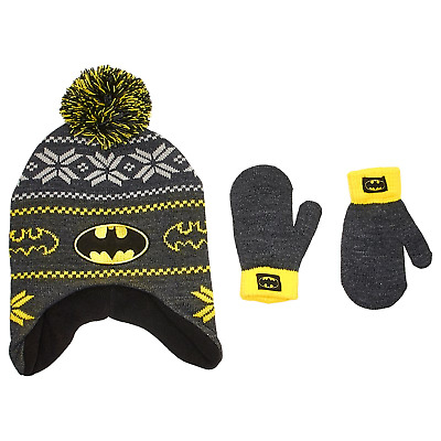 Toddler Boys Batman Knit Pom Hat with Mittens (2T-4T)