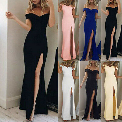 Womens Off Shoulder Evening Cocktail Party Formal Bridesmaid Wedding Maxi Dress