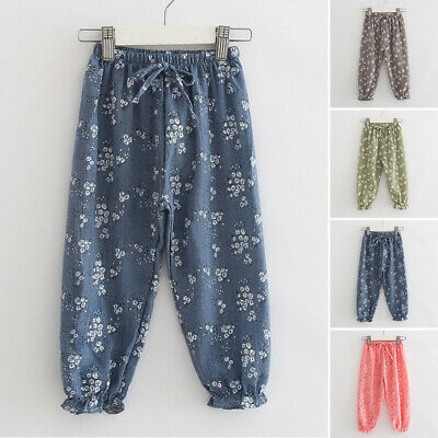Girls Children Floral Printed Lace Up Harem Trousers Bottoms Baggy Summer Pants