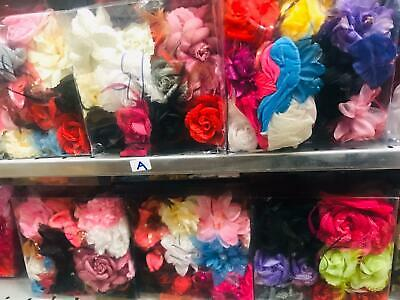 Joblot Flower Hair Band Mixed Colours Pack Of 12 In 1 Box (A)