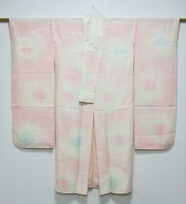 Vintage Japanese Ladies' Pink Silk 'Cranes' Furisode Juban/Under-Kimono VGC XS/S