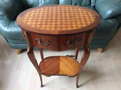 Antique Marquetry inlaid French Louis XVI Style Side Table with Drawer.
