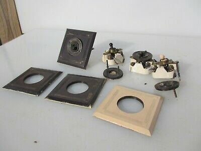 Vintage Bakelite Light Switch Square Plate Art Deco Antique Old Crabtree x4