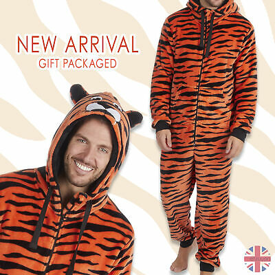 Mens Adult 1Onesie Animal Tiger Fleece Sleepsuit Costume Hooded Zip All In One