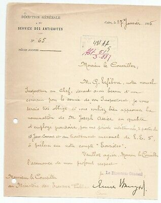 EGYPT ÄGYPTEN 1905 LETTER SIGNED BY GERMANY Émile Brugsch LOT 3