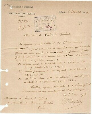 Egypt Ägypten 1904 Rare Letter Signed By France Gaston Maspero Lot 8