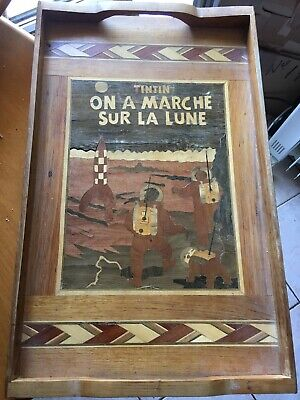 """Tray Marquetry """" Tintin They Walking on La Lune """""""