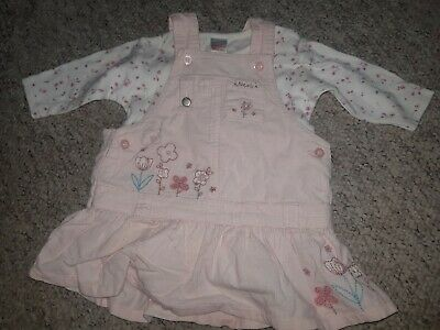 Next Pink Cord Baby Girls Dress & Long Sleeved Vest Age 0-3 Months