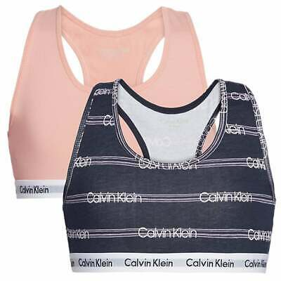 Calvin Klein GIRLS 2 Pack Modern Cotton Bralette, Flamingo Pink / Glitch Stripe