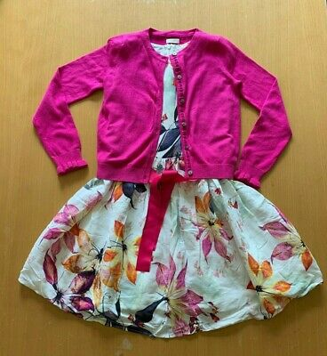 Next Girls floral occasion dress and matching cardigan outfit - Age 8 years