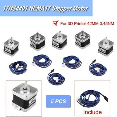 5x 17HS4401 NEMA17 Stepper Motor Bipolar 12V 1.5A For 3D Printer Engraving 40MM