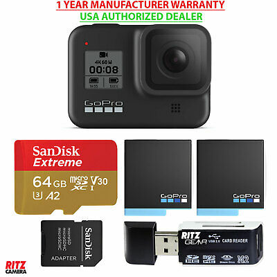 GoPro HERO8 Black Action Camera with TouchScreen 4K, Batteries, 64GB (CHDHX-801)