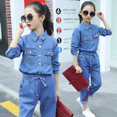 2-Piece Child-Juvenile Denim Suit Fashionable Girls Jeans Shirt Trousers Outfit
