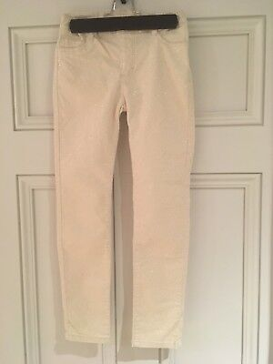 H&M Girl's Sparkly Cream Trousers 7-8 Years VGC