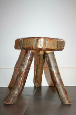 Antique Vintage Rustic Farmhouse Wooden Oak Milking Stool