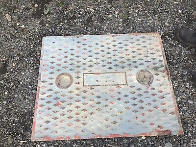 Reclaimed cast iron vintage Large  manhole cover with frame