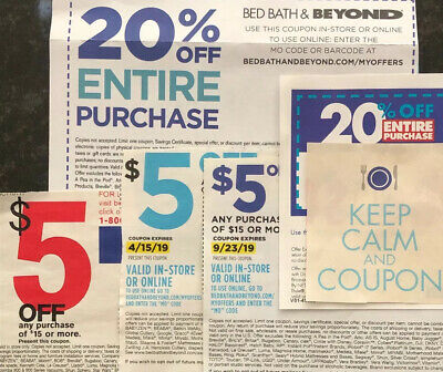5 Total bed bath beyond coupons (2) 20% Off entire purchase & (3) $5 Off $15 Exp