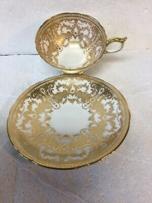 Vintage Aynsley England Bone China Tea Cup Saucer Set 7949 Gold Ornate Pattern