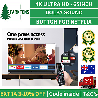 New 65 Inch LED LCD 4K Smart TV Ultra HD UHD HDR Slim Netflix Television Black
