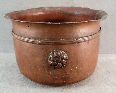 "Antique ARTS & CRAFTS MOVEMENT Hammered COPPER JARDINIERE Planter POT -6.5"" x 4"""