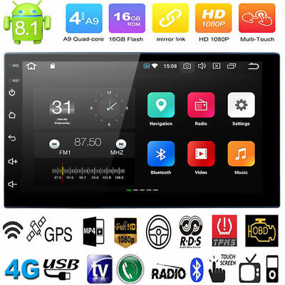 7'' Android 8.1 Double 2DIN 16G Quad Core GPS Car Stereo MP3 Player FM + Camera