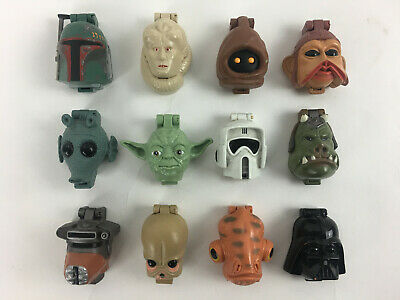 Vintage Lot of 12 Star Wars Micro Machines Mini Heads Galoob Playsets Collection