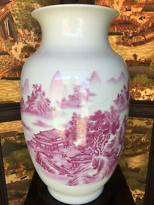 43Cm Chinese Porcelain Vase Painted In Pink Themed In Mountain Village