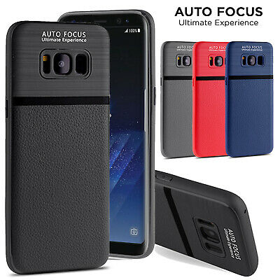 For Samsung Galaxy S6 S7 Edge S8 S8+ Hybrid Leather Rubber Soft Slim Case Cover