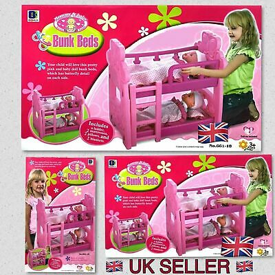 Pink Double or Single Dolls Baby Bunk Bed Toy W/ Pillow, Mattresses, Blankets