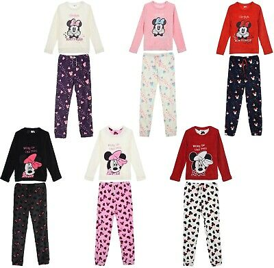 Ladies Fleece Pyjamas Disney Womens Minnie Mouse Cosy Coral Set Pjs Nightwear