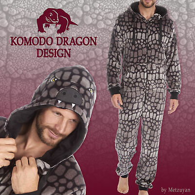 Mens 1Onesie Animal Hooded Novelty Boys All in One PJs Grey Soft Fleece Adult UK