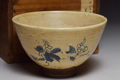 Japanese old kokiyomizu ware TEA BOWL Grass flower chawan kahinshiryu