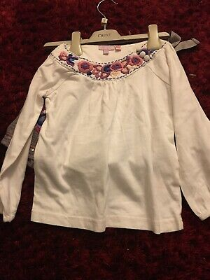Monsoon Girls Skirt Top Outfit Grey/ White 3-4 Yrs Exc Cond, Embroidered Flowers