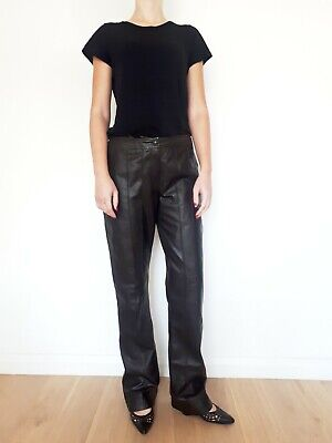 vintage 90s Brown Leather wide leg trousers pants