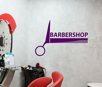 Vinyl Wall Decal Barbershop Logo Beauty Hair Cutting Scissors Stickers (4088ig)