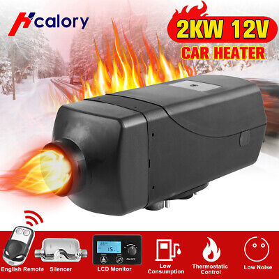 HCalory 12V 2KW Diesel Air Heater LCD Thermostat Silencer Tank Motorhome Caravan